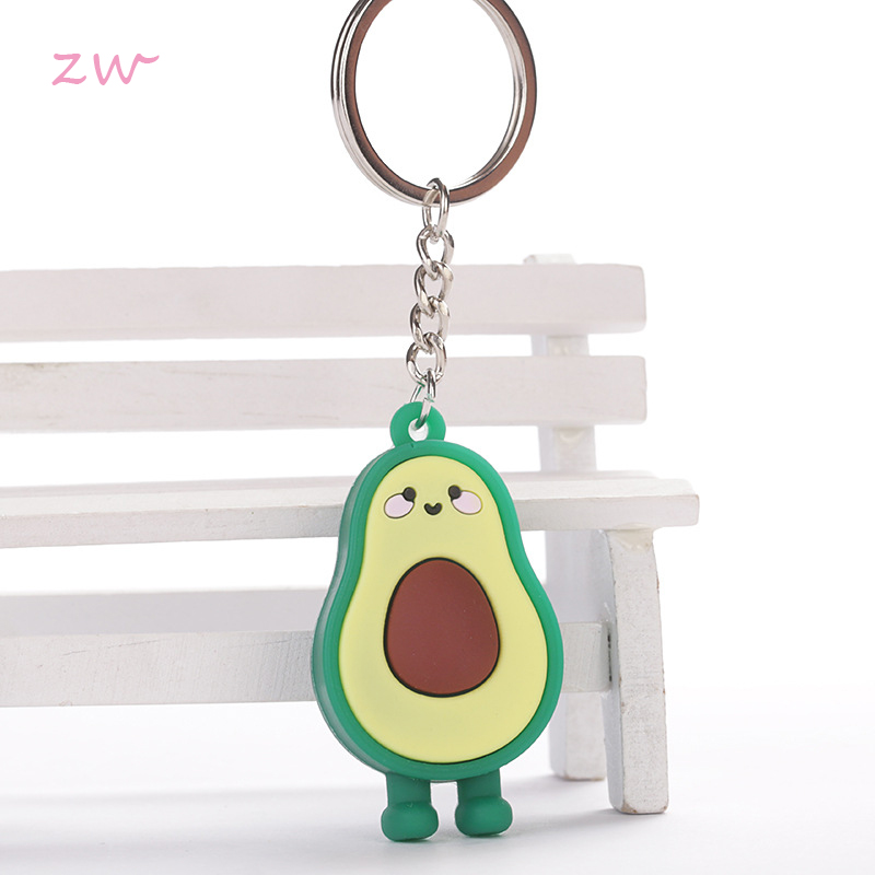 New Simulation Fruit Avocado Heart-shaped Keychain 3D Soft Pottery Avocado Key Chains Jewelry Fashion Gift 3C0178