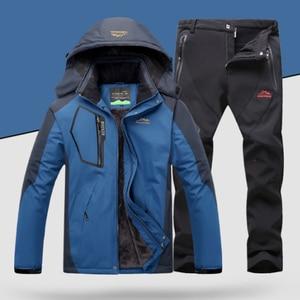 Image 3 - TRVLWEGO Winter Ski Suit Men Windproof Waterproof Snowboard Jacket and Pants Outdoor Super Warm 2 in 1 Thermal Fleece Snow Coat
