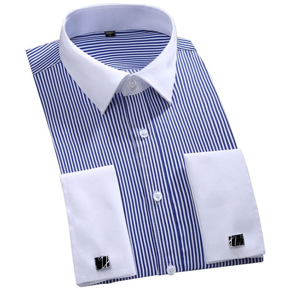 Men's Dress Shirts Loose French Cuff Regular fit Luxury Striped Business Long Sleeve Cufflinks Social Pluse Size Men Shirt 6XL 11