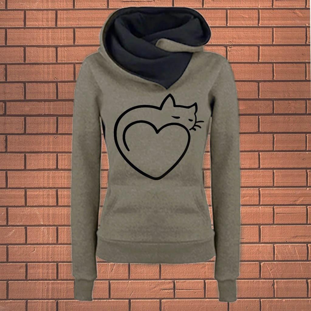 Cute Cat Ear Vintage Tool Band Women Girl Hoodies Long Sleeve Printed Pullover Sweatshirt