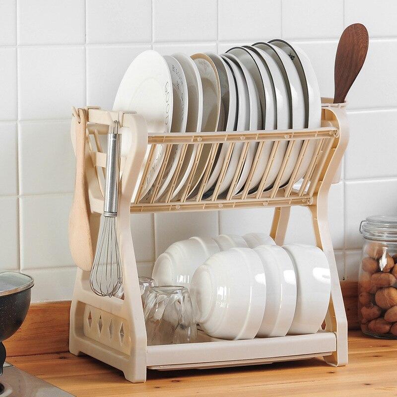 Cupboard Kitchen Organizer Chopsticks Collection Box Drainage Bowl Rack Kitchen Double Decker Bowl Rack Plastic Cupboard|Racks & Holders| |  - title=