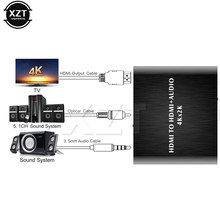 Baru 4K X 2K HDMI Audio Extractor + Optical TOSLINK SPDIF + 3.5 Mm Stereo Audio Extractor Converter HDCP HDMI Audio Splitter(China)