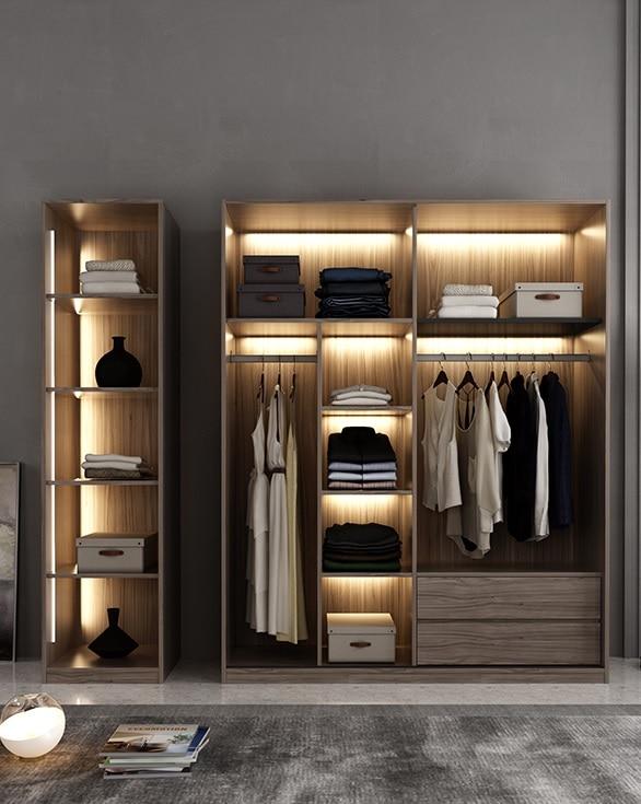 Bespoken Wardrobe with LED Lighting Dress font b Closet b font Armoire of MDF Fiberboard