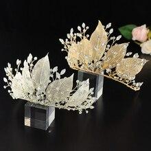 TRiXY H212 Golden Silver wedding tiara bride Bridal headpiece with crystal Wedding Hair Jewelry Rhinestone leaf Bridal tiara