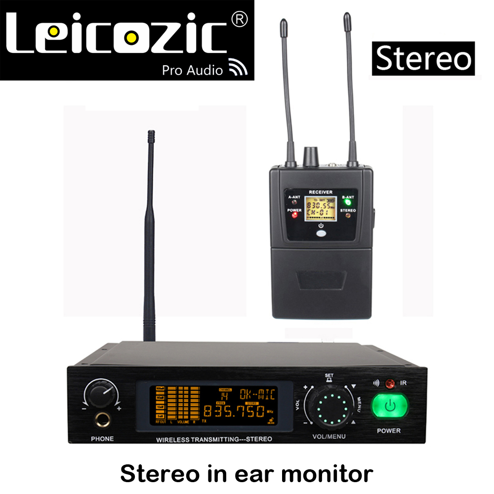Leicozic Stereo in ear monitor system professional stereo wireless monitor system for stage monitoring system 512 524/830 842Mhz|Microphones| |  - title=