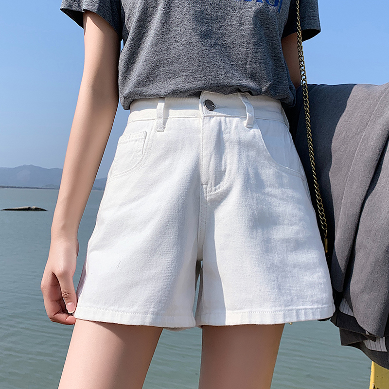 Panalones Cortos Mujer Cintura Elastica New Casual Summer Krotkie Spodenki Damskie Jeansowe Blue Balck White Denim Shorts Women
