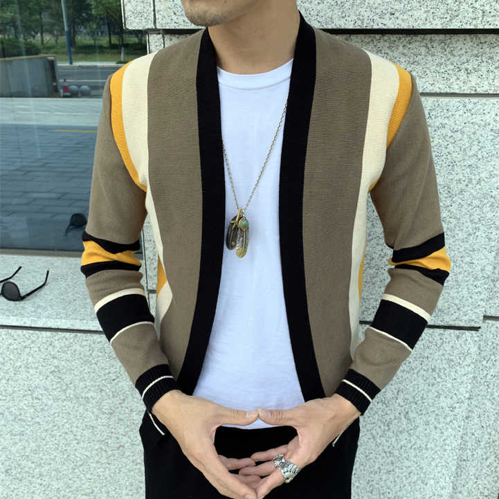 Splicing Kontras Sweater Kasual Pria Sweatercoat Triko Kardigan Rajutan Sweter Casaco Masculino Hombre Cardigan Sweater