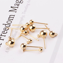 10pcs handmade accessories gold plating color preserving small round ball earring needle round head with hanging stud material