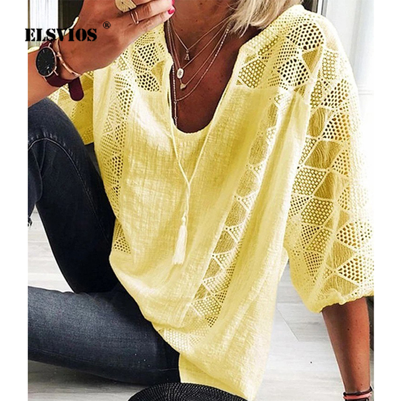 2020 Summer V-neck Lace Cotton Linen Shirt Spring Three Quarter Sleeve Plus Size Blouse Casual Patchwork Women Tops And Blouses
