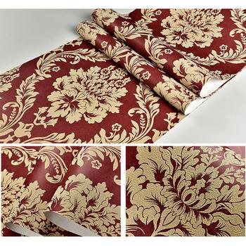 American Rustic Flower Floral Wallpaper Non-woven 3D Embossed Damask Wallpaper Rural Retro Living Room Contact Paper Red Beige 3d flower floral wallpaper roll contact paper non woven embossed pink wallpaper for girls bedroom living room decor wallcovering