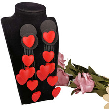 UKEBAY nowe serce spadek kolczyki długie drewniane kolczyki dla kobiet gotycka biżuteria Handmade gumowe kolczyki wesele biżuteria na prezent