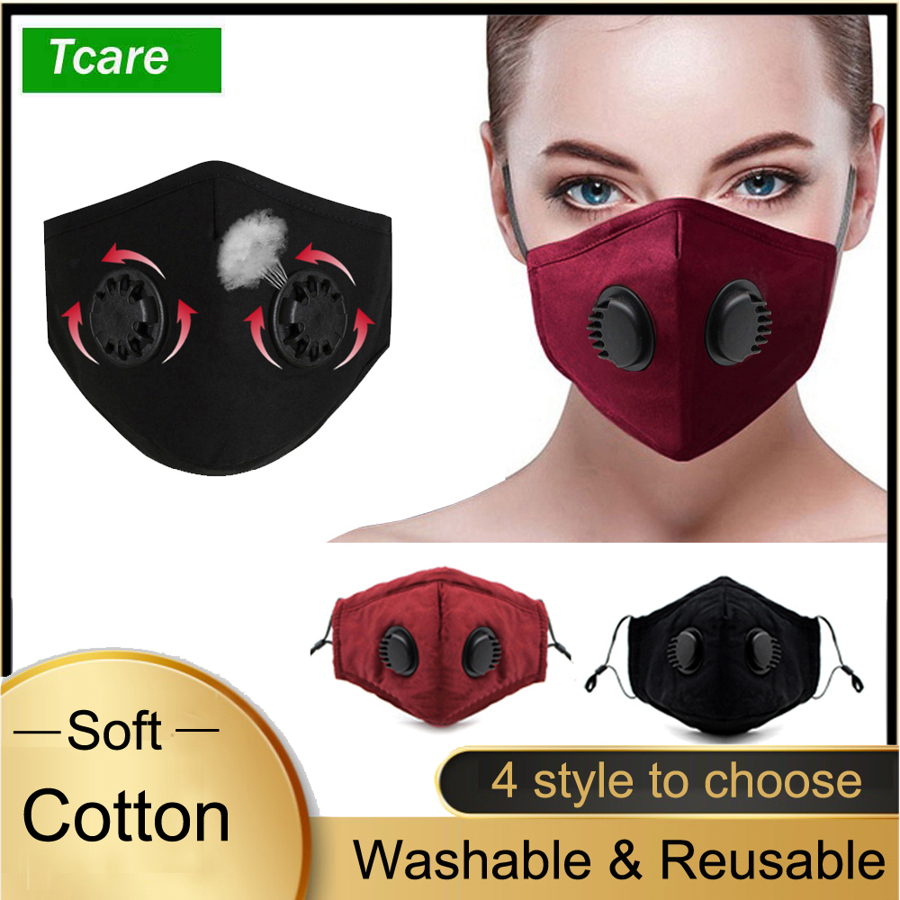 Double Breathing Valve Anti Dust Face Mouth Mask wirh PM 2.5 Activated Carbon Filter Washable Reusable Cotton Mask|Masks| - AliExpress