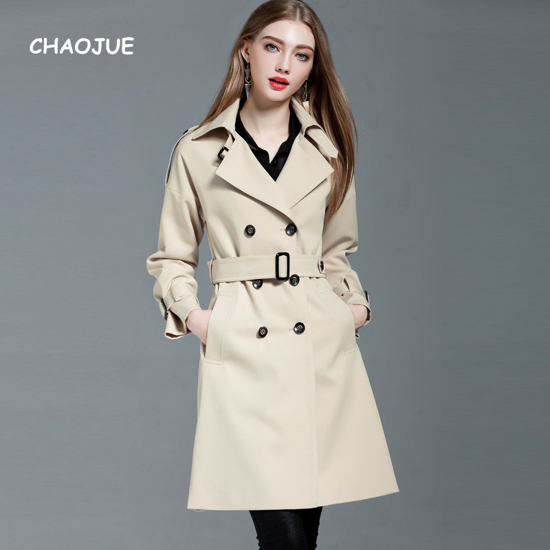 CHAOJUE Brand Europe Women Long   Trench   New Arrivals Elegant Slim Coat uk Ladies Loose Causal Trenchcoat Customized Coat Sales