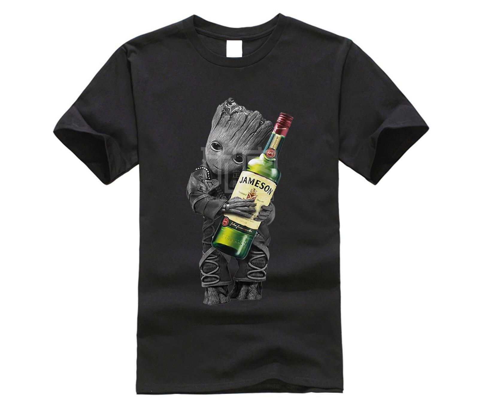 Baby Groot Hug Jameson Wine T Shirt Classic Style T-shirt Winner Tee Men Brand Clothing