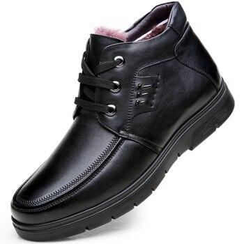 men leisure business office formal dress warm plush snow boots outdoor cow leather winter shoes platform cotton shoe ankle boot
