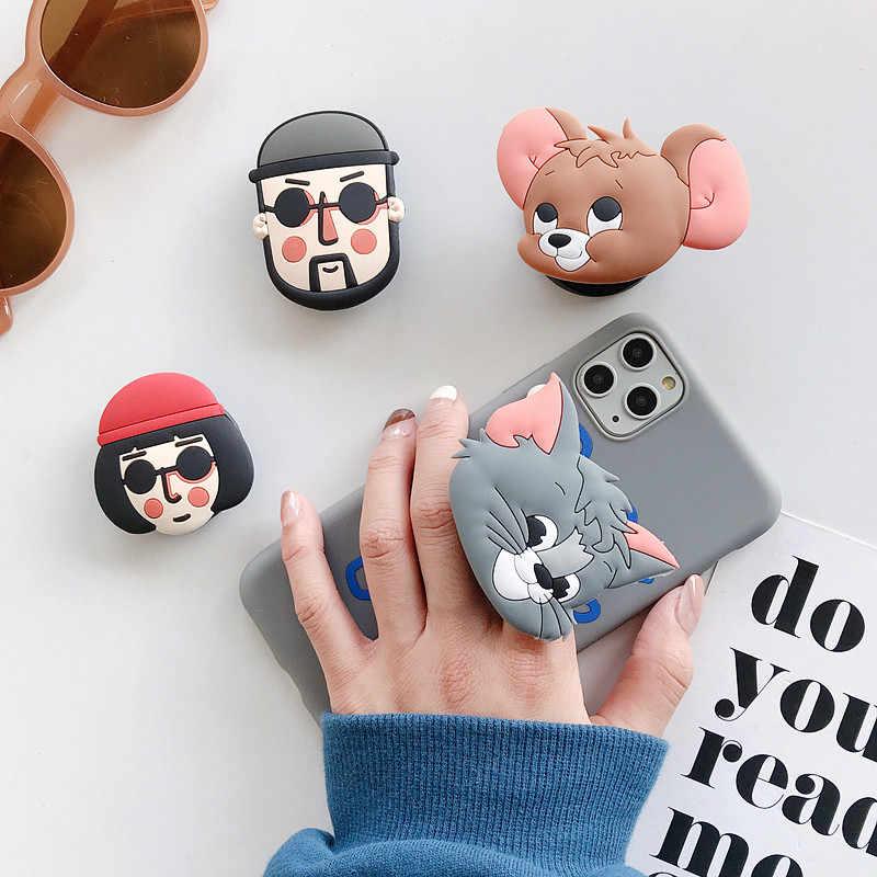 Leuke Cartoon Opvouwbare Stand Houder Voor Mobiele Telefoon Case 3D Cartoon Grip Vinger Houder Voor Iphone 11 Voor Huawei Voor samsung Cases