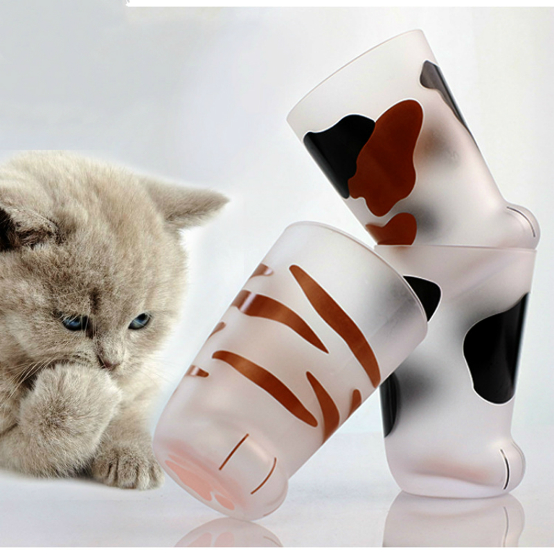New Creative Cute Cat Paws Glass Frosted Glass Cups Cat Foot Print Mug Office Coffee Mug Milk Glass Cup Kids Breakfast Cup Gift Other Glass Aliexpress