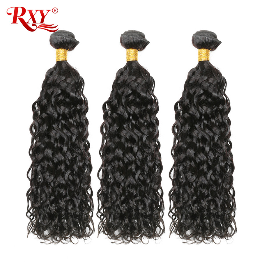 RXY Peruvian Hair Water Wave Bundles Wet And Wavy Human Hair Double Weft Remy Human Hair Extensions Whole Head 10''-28''