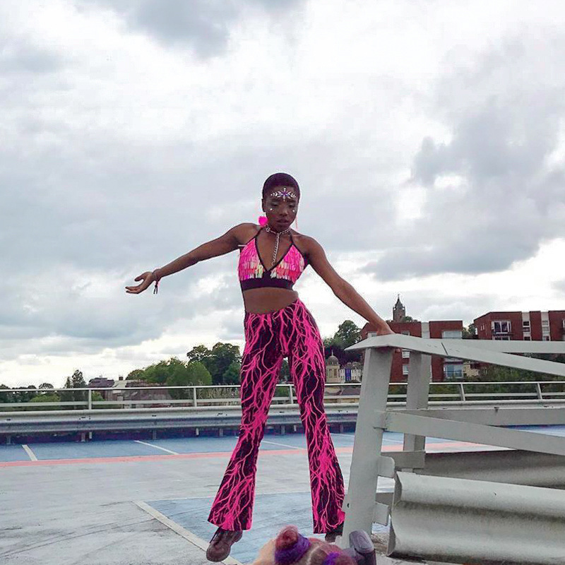 Purple Lightning Tube Top And Flare Pant Two Piece Set