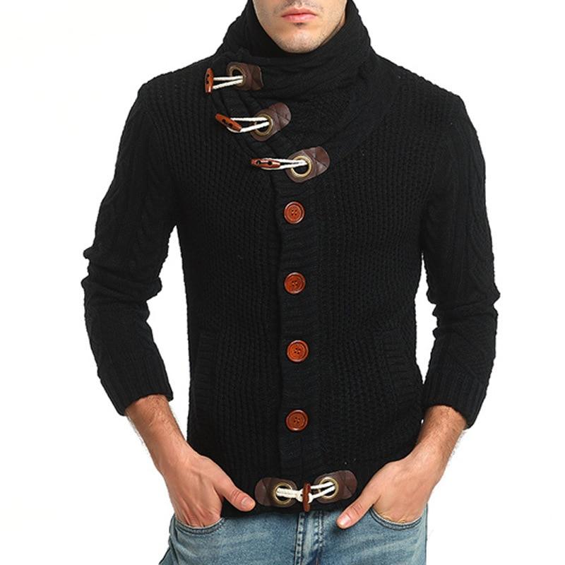 Zogaa Sweater Men Winter Thick Warm Turtleneck Cardigan Casual Slim Solid Knitted Sweater Coat Male Horn Buckle Men Jerseys 3XL