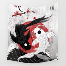 Koi Fish Yin Yang Wall Tapestry Wall Decor Bedspread Coverlet Curtain Towel Sheet Throw Personalized Comfort