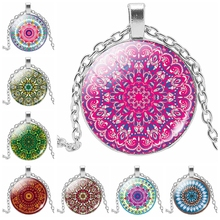 2019 New Hot Fashion Color Kaleidoscope Series Glass Cabochon Necklace Pendant Ladies Jewelry Gift