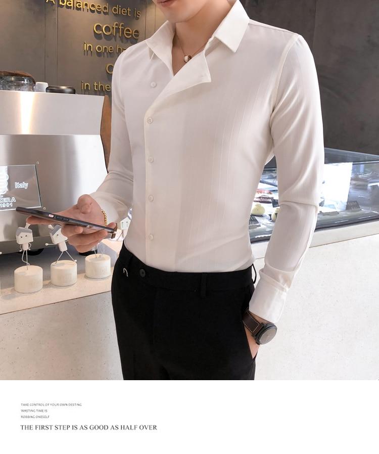 Hc960e642ba7a450ca8d502b734d34568m Solid Color Shirt Dress Brand New Slim Fit Men Shirt Solid Long Sleeve Shirts Men Camisa Masculina Tuxedo Clothes