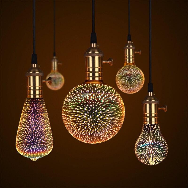 Creative Fireworks Light 3D Christmas KTV Holiday LED Lamp 3D Fireworks Bulb A60 E27 Home Decor Fireworks Bulb