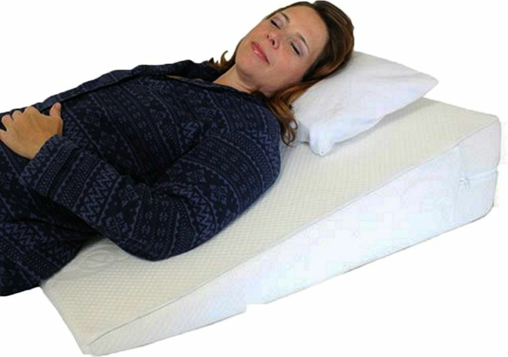 large bed wedge raised pillow acid reflux gerd memory foam back ol9