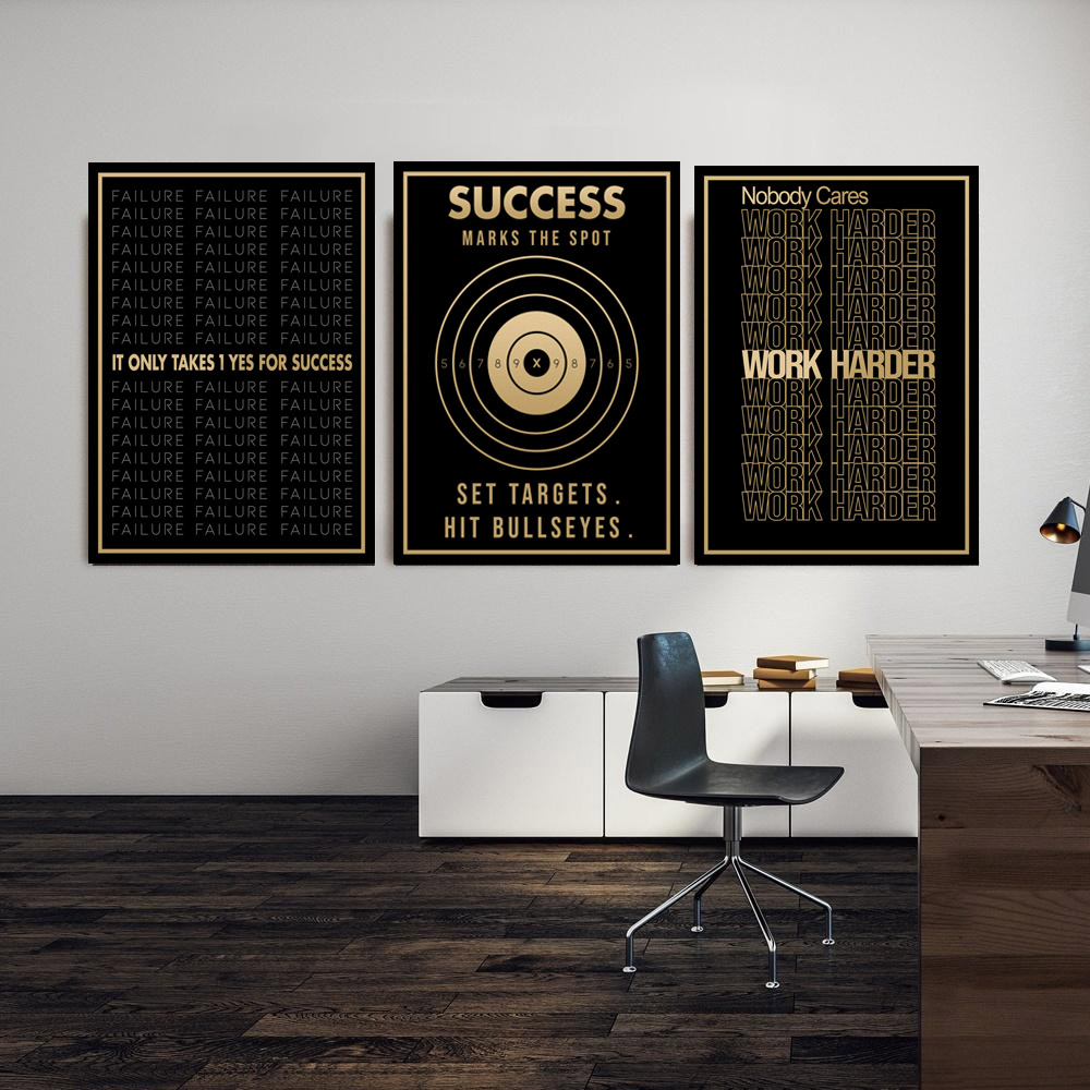 Success Text Canvas Painting Entrepreneur Motivational Quote Wall Art Canvas Posters Prints Wall Picture for Office Home Decor