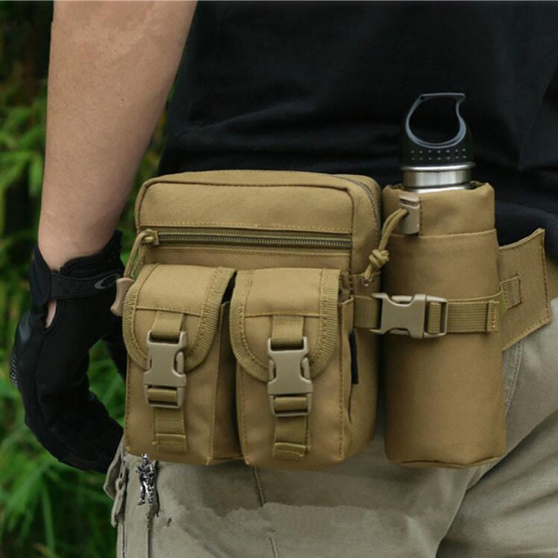 Outdoor Sports Tactical Military Water Bag Shoulder Bag Molle Camping Hiking Waterproof Waist Pack Bag Kettle Pocket Bag Zi