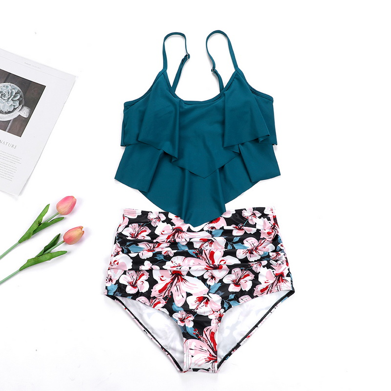Women High Waisted Swimsuit Two Piece Ruffled Flounce Top with Ruched Bottom 2