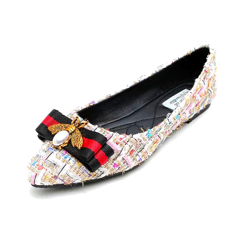 32 44 Plus Size Tweed Flat Shoes Women Rhinestone Bee Pointed Toe Flats Breathable Ladies Shoe Loafers Luxury Women Shoes P246 Women's Flats    - title=