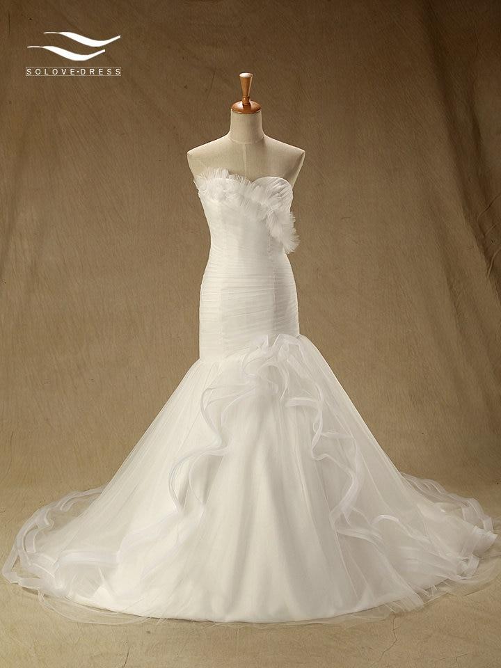 Solovedress Mermaid Sleeveless Floor-Length Sweetheart Pleat Wedding Dress With Zipper Back Bridal Gown Vestido De Noiva SL-W146