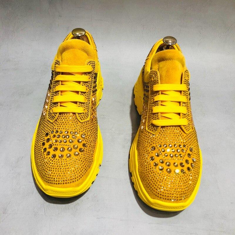 Mode hommes cristal clouté chaussures décontractées 2019 plate forme épaisse baskets haute rue Joggers formateurs à lacets chaussures en cuir brillant - 3
