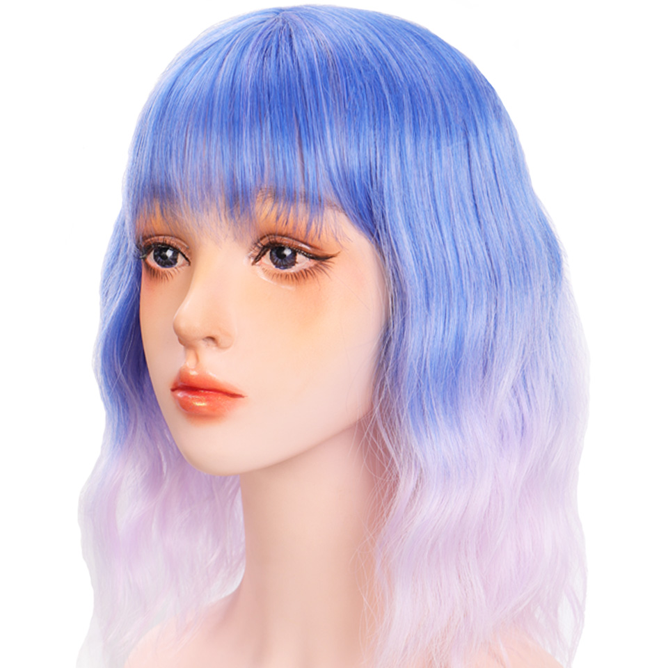 Hc961dcf3a74d466293f9376d25342efft - Short Water Wave Synthetic Hair Mixed Purple and pink Wigs Available Cosplay Wig For Women Heat Resistant Fiber Daily Bob Wig