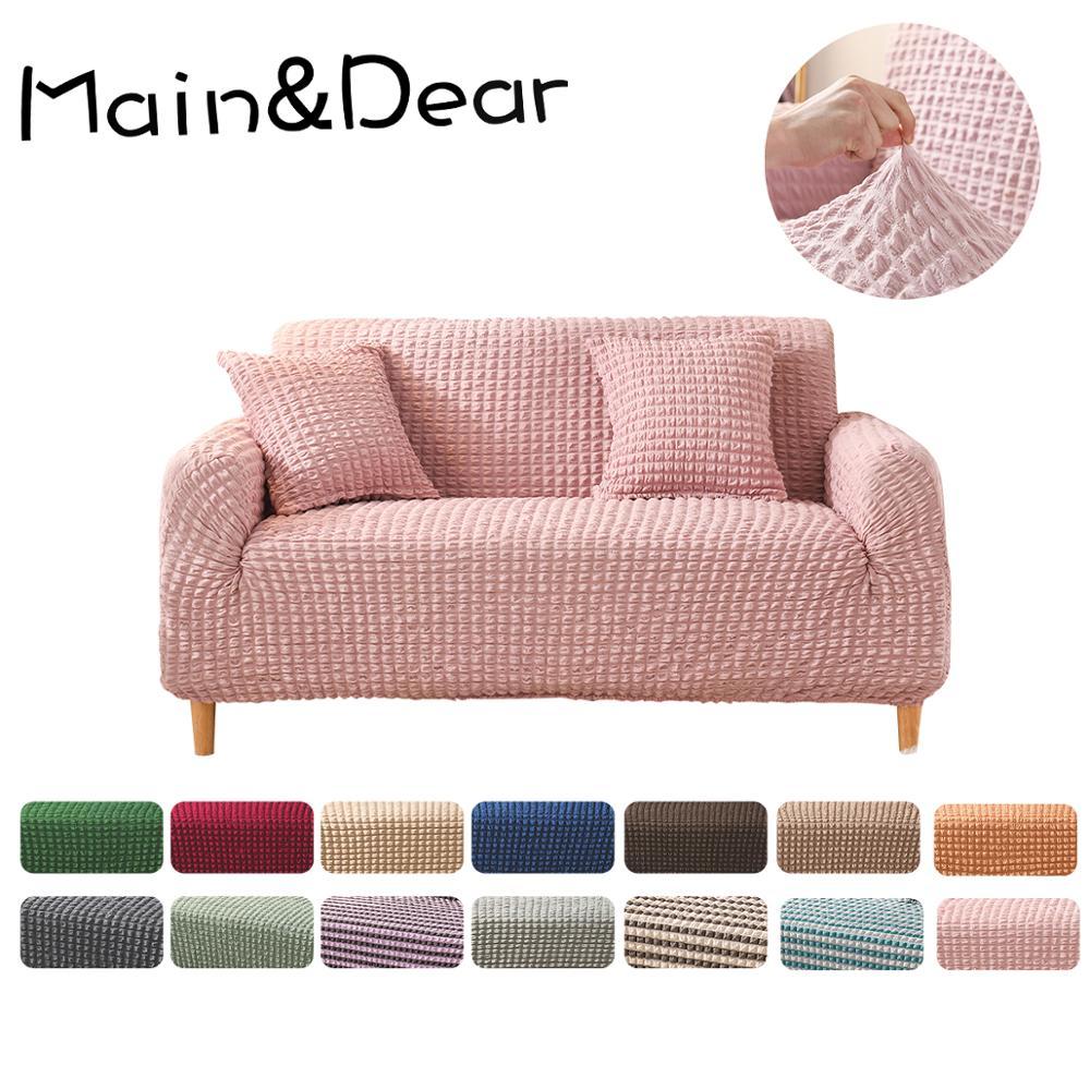 Однотонный однотонный чехол для дивана на 1/2/3/4 сиденья, универсальный полноразмерный чехол, высококачественный чехол для дивана, украшение для дома для гостиной Чехлы для диванов      АлиЭкспресс