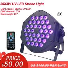 2 ชิ้น/ล็อตอุปกรณ์ DJ 36X3W LED UV PAR แสงเวทีแสง LED สีม่วงเลเซอร์แสงโปรเจคเตอร์ปาร์ตี้คลับ DISCO LIGHT