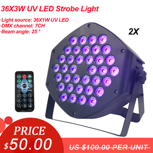 Image 1 - 2 ピース/ロット dj 機器 36X3W led uv パーライト uv ステージライトバイオレット led バーレーザー投影照明パーティークラブディスコライト