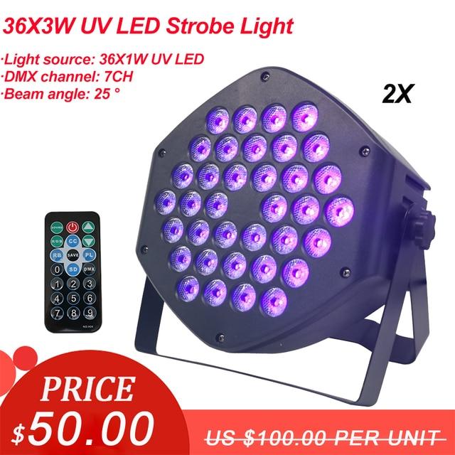 Projecteur lumineux de scène à LED UV 36x3w 2 pièces/lot, éclairage de scène à Led Violet, éclairage de scène pour fête Club Disco