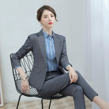 2019 new autumn high quality suit set Slim trouser Temperament long sleeve single button blazer Professional two-piece