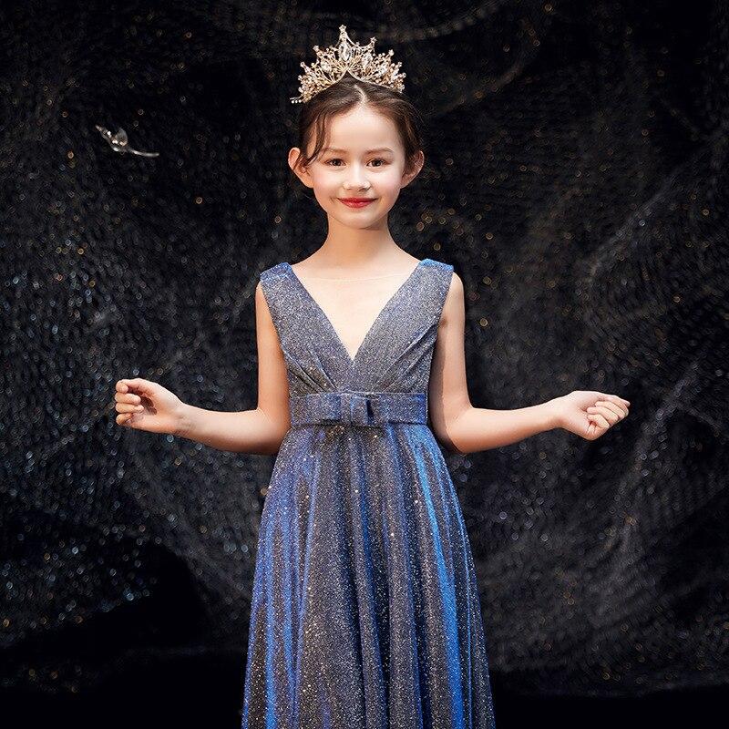 New Style Children Evening Gown Girls Princess Skirt Puffy Yarn Model Catwalks Piano Performance Wear GIRL'S Performance Western