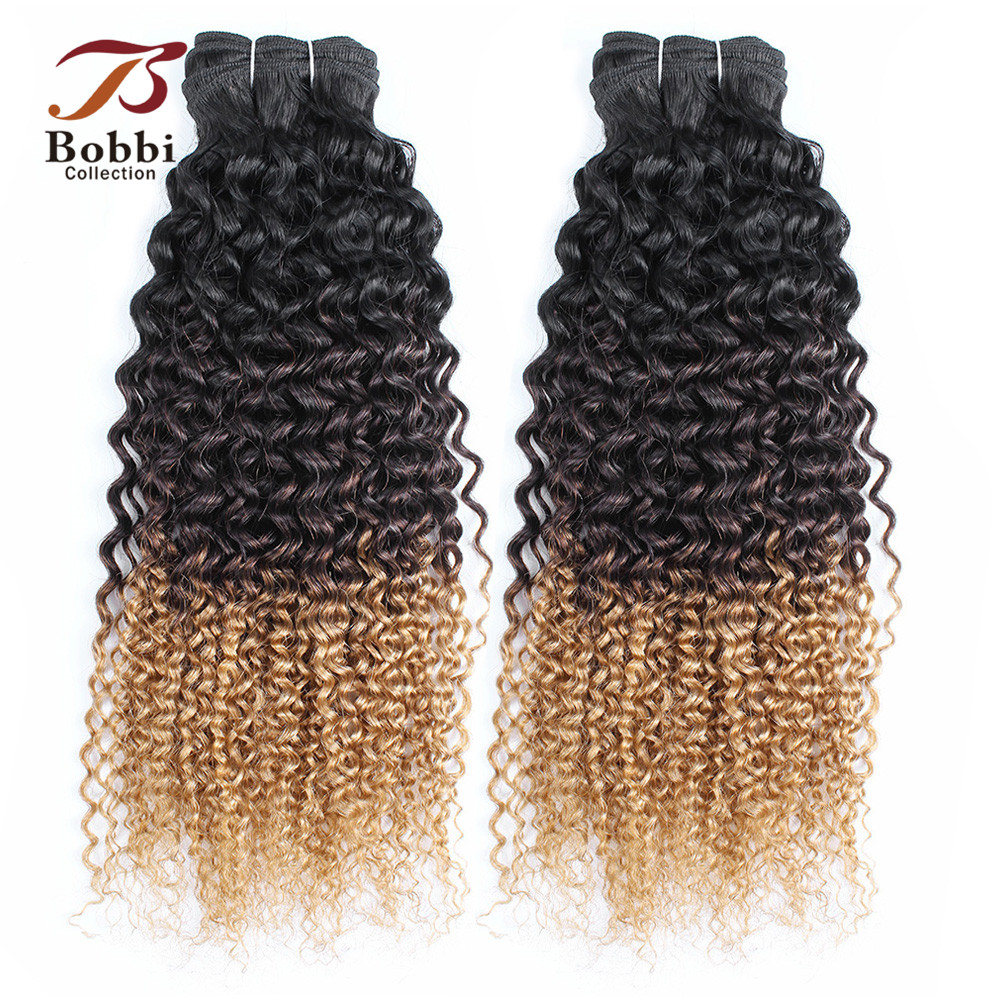Bobbi Collection Jerry Curly T 1B 4 27 Dark Root Brown Honey Blonde 2/3 Bundles Ombre Non Remy Human Hair Bundles Indian Hair