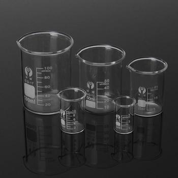 5Pcs Glass Beaker Set 5/10/25/50/100ml Borosilicate Glass Laboratory Measuring Cup Glassware School Study Lab Educational Supply
