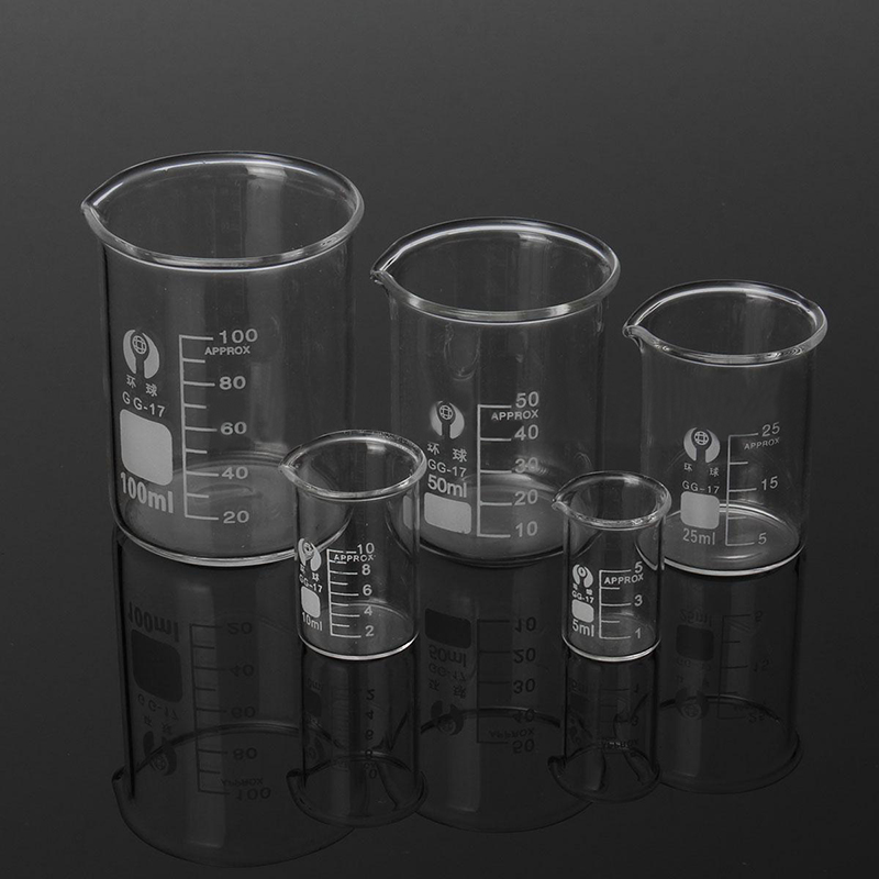 5Pcs Lab Glass Beaker Set 5/10/25/50/100ml Borosilicate Glass Laboratory Measuring Glassware School Study Lab Educational Supply