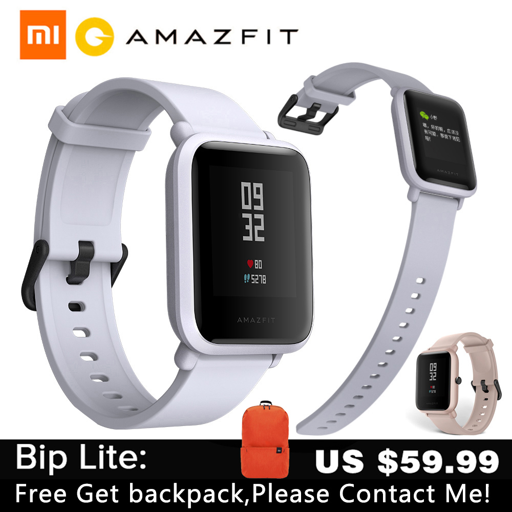 Amazfit Youth Bip Bip-Lite Women Smartwatch Heart-Rate Huami Bluetooth Global-Version