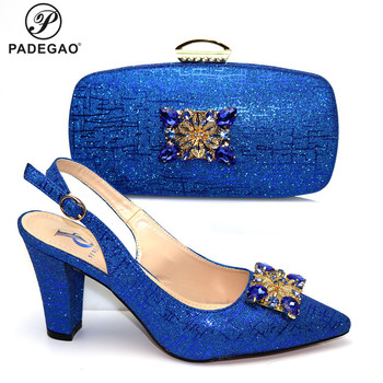 Blue Latest Comfortable Shoes and Bags Set African Sets 2020 Italian Shoes and Matching Bags Women Rhinestone Wedding ShoeS