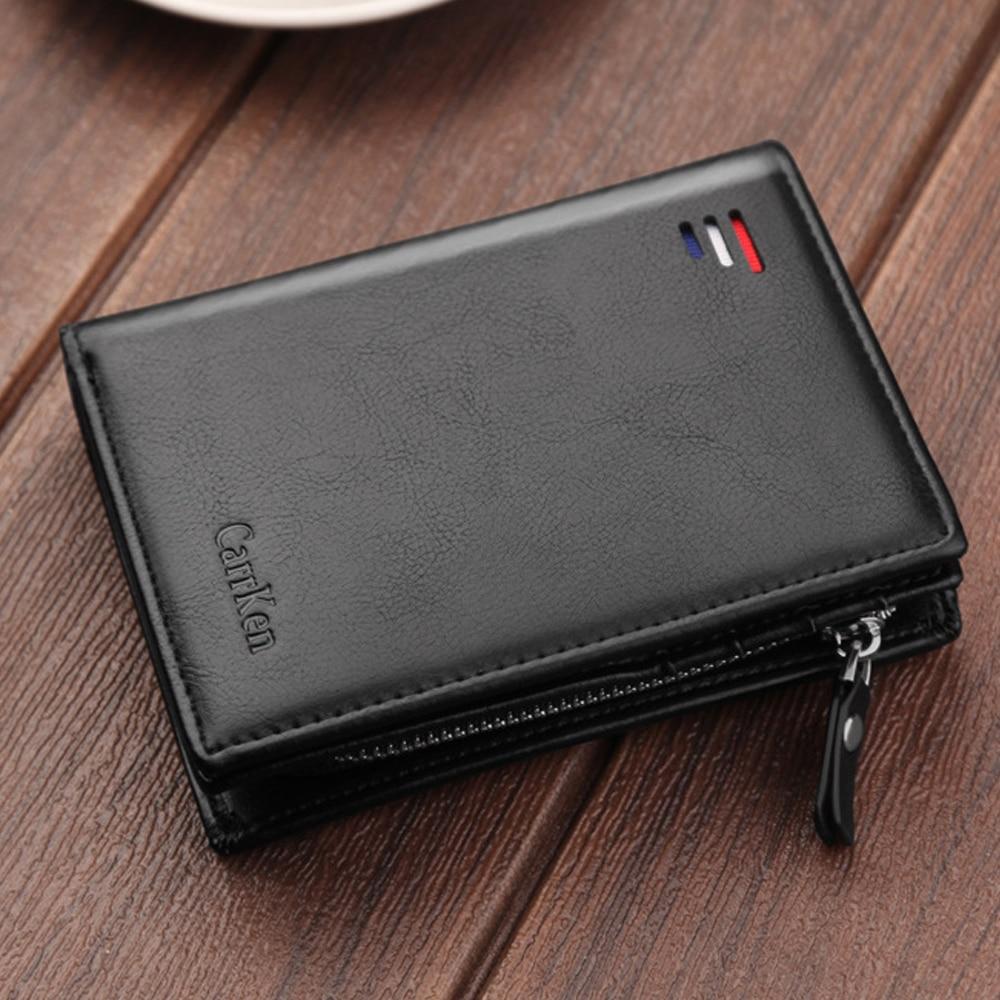 2020 Vintage Men Leather Luxury Wallet Short Slim Male Purses Money Clip Credit Card Dollar Cow Leather Wallet Mens Card Purse