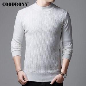 Image 2 - COODRONY marka sweter mężczyźni jesień zima gruby ciepły kaszmirowy wełniany sweter mężczyźni Pure Color dzianina golf Pull Homme 91114
