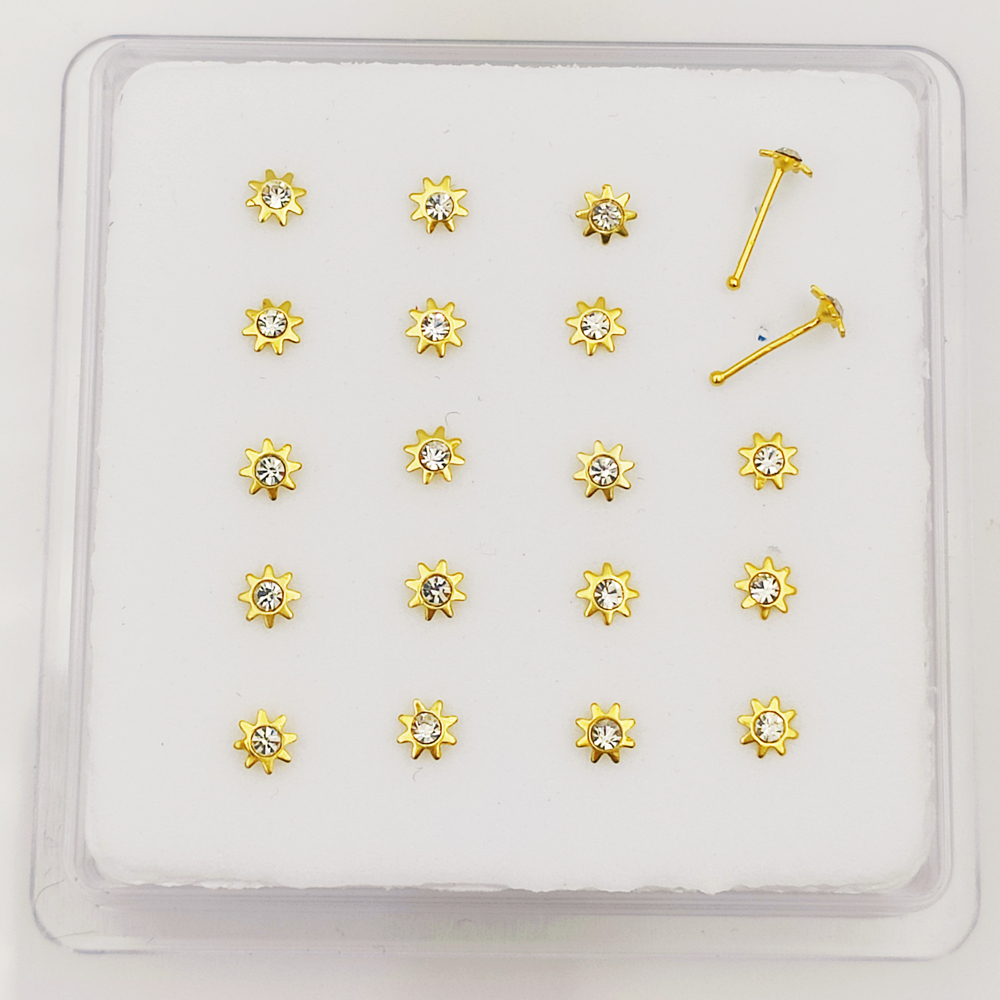 Sunflower Nose bone 925 sterling silver nose stud Piercing nostril body jewelry 20pcs/pack